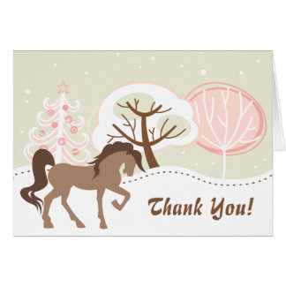 Pretty Brown Horse Snowy Pink Winter Thank You Card