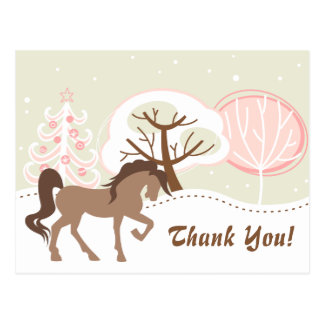 Pretty Brown Horse Snowy Pink Winter Thank You Postcard