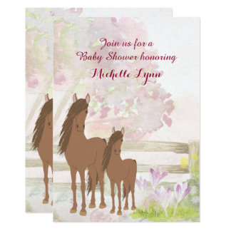 Pretty Brown Horses and Flowers Baby Shower Invite