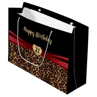 Pretty Brown Leopard Design Large Gift Bag
