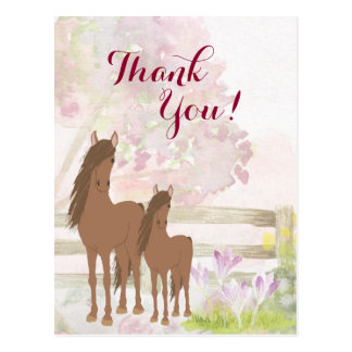 Pretty Brown Mare, Foal, Flowers Horse Thank You Postcard