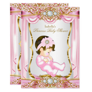 Pretty Brunette Princess Baby Shower Pink Silk Card