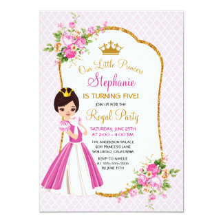 Pretty Brunette Princess Birthday Party Invitation