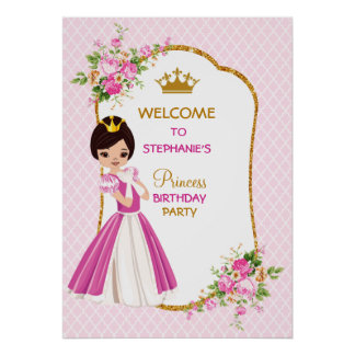 Pretty Brunette Princess Birthday Party Poster