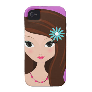 Pretty Brunette with Daisy iPhone 4/4S Case