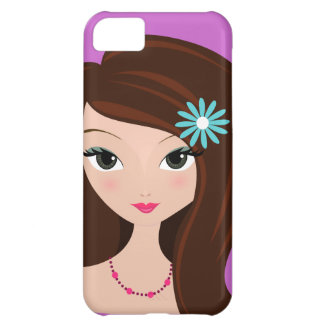 Pretty Brunette with Daisy iPhone 5C Cases