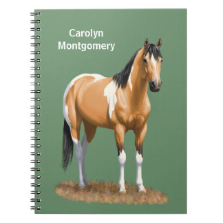 Pretty Buckskin Paint Horse Spiral Note Books
