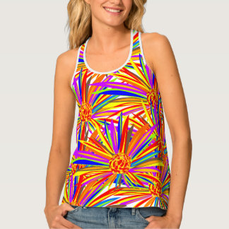 Pretty burst of color floral print all over tank