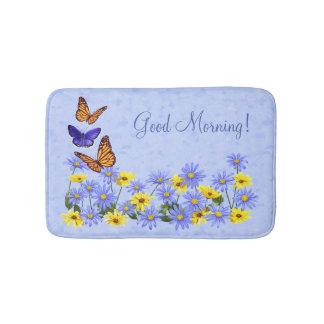 Pretty Butterflies and Daisies Spring Garden Bath Mat
