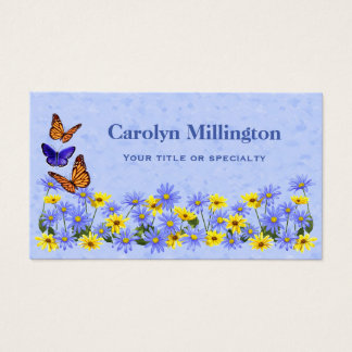 Pretty Butterflies and Daisies Spring Garden Business Card