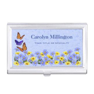 Pretty Butterflies and Daisies Spring Garden Business Card Holder