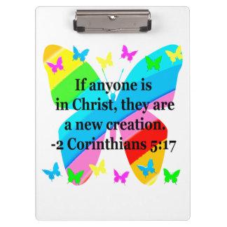 PRETTY BUTTERFLY 2 CORINTHIANS 5:17 DESIGN CLIPBOARDS
