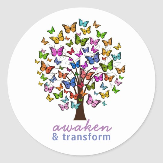 Pretty Butterfly Awaken and Transform Personalized Classic Round Sticker