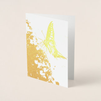 pretty butterfly gold foil card