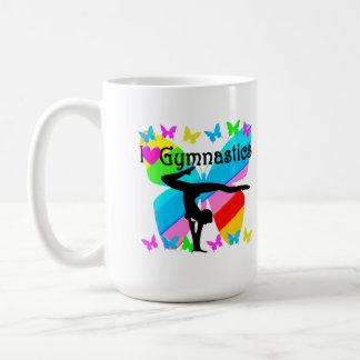 PRETTY BUTTERFLY I LOVE GYMNASTICS DESIGN COFFEE MUG