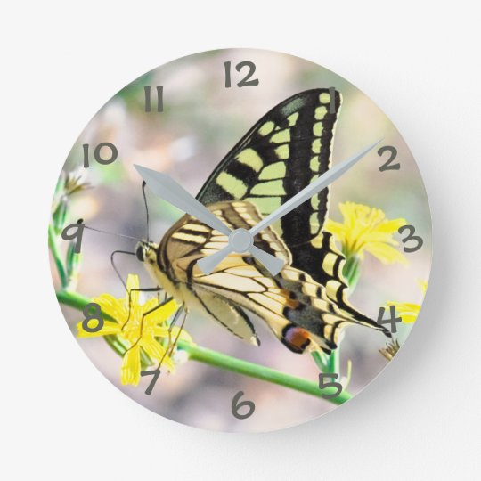 Pretty Butterfly on Yellow Flower Round Clock