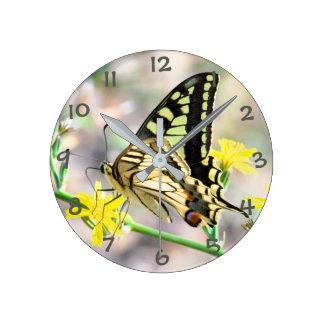 Pretty Butterfly on Yellow Flower Wallclock