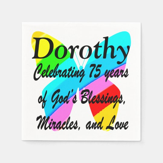 PRETTY BUTTERFLY PERSONALIZE 75TH BIRTHDAY NAPKIN DISPOSABLE NAPKINS