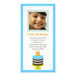 Pretty Cake Photo Birthday Party Invitation - Blue