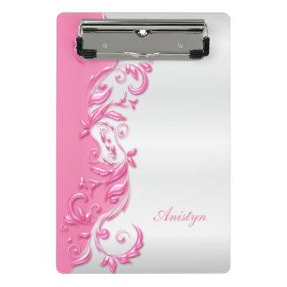 Pretty Candy Pink Ornate on White Satin Design Mini Clipboard
