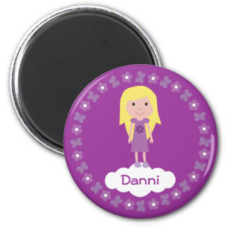 Pretty Cartoon Girl & Flowers Purple Custom Magnet