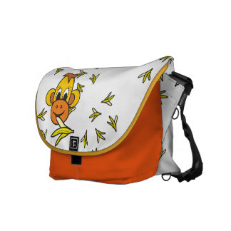 pretty case with litte monkey and bananas messenger bags