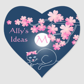 Pretty Cat Cherry Blossoms Moon Pink Sakura Blue Heart Sticker
