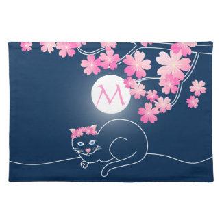 Pretty Cat Cherry Blossoms Moon Pink Sakura Blue Placemats