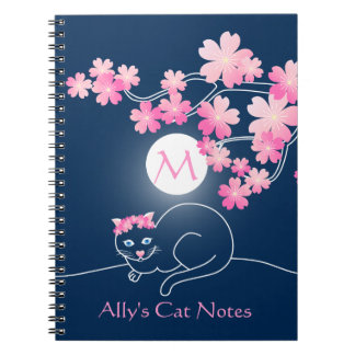 Pretty Cat Cherry Blossoms Moon Pink Sakura Blue Spiral Notebook