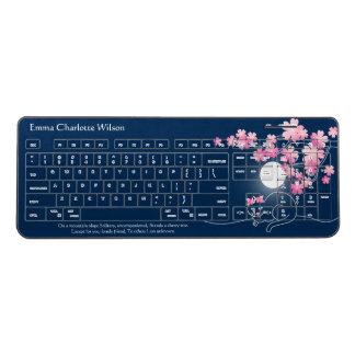 Pretty Cat Cherry Blossoms Night Pink Sakura Blue Wireless Keyboard