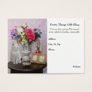 Pretty Cat/Flowers/Gift Shop Business Card