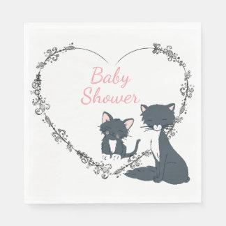 Pretty Cat, Kitten, Flower Heart Girls Baby Shower Napkin