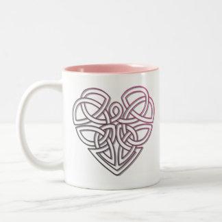 Pretty Celtic Heart design Two-Tone Coffee Mug