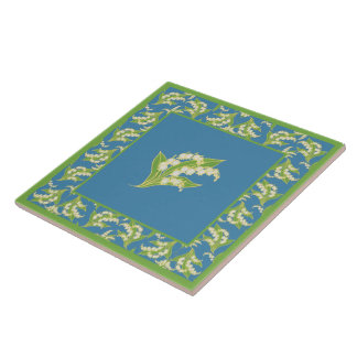 Pretty Ceramic Tile: Lilies of the Valley, Blue Tile