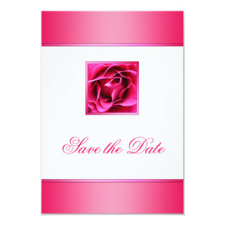 Pretty Cerise Pink Rose Floral Save the Date 3.5x5 Paper Invitation Card