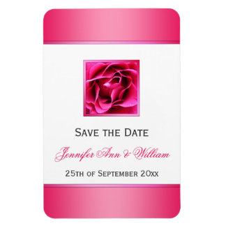 Pretty Cerise Pink Rose Floral Save the Date Rectangular Photo Magnet