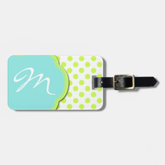 Pretty Chartreuse & Aqua Monogram Luggage Tag
