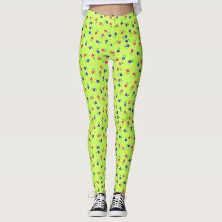 Pretty Chartreuse Flowers leggings