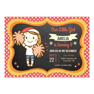 Pretty Cheerleader Girl Birthday Party Invitation