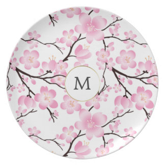 pretty cherry blossom vintage intial customizable plate