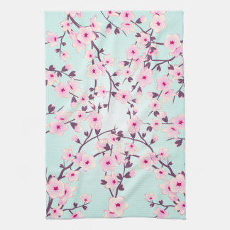 Pretty Cherry Blossoms Pink Turquoise Kitchen Towel
