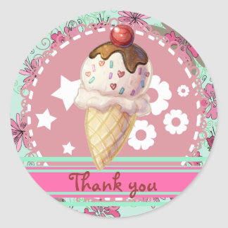 Pretty Cherry Icecream Classic Round Sticker