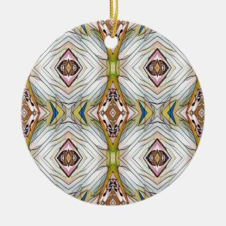 Pretty Chic Artistic Tribal Pattern Round Ceramic Ornament
