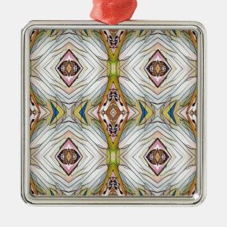 Pretty Chic Artistic Tribal Pattern Silver-Colored Square Ornament