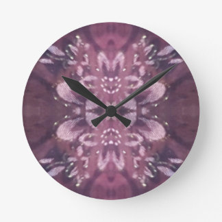 Pretty Chic Burgundy Lavender Artistic Floral Clock