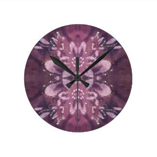 Pretty Chic Burgundy Lavender Artistic Floral Round Clock