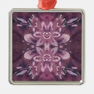 Pretty Chic Burgundy Lavender Artistic Floral Silver-Colored Square Ornament