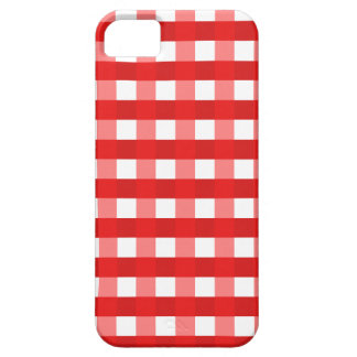 Pretty Chic Red Gingham Checked Fabric Pattern iPhone 5 Cover