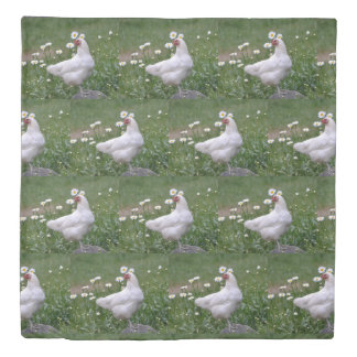 Pretty Chicken with Daisies Duvet Cover