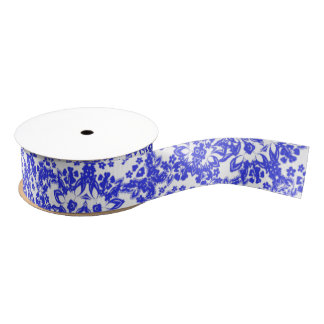 Pretty China Blue And White floral Lacy Patterned Grosgrain Ribbon